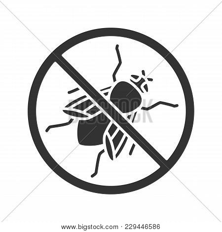 Stop Housefly Sign Glyph Icon. Flying Insects Repellent. Pest Control. Silhouette Symbol. Negative S