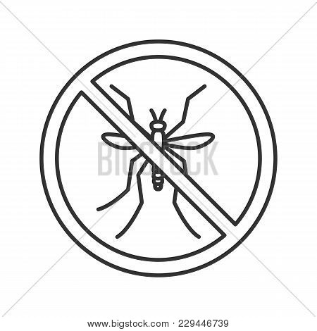 Stop Mosquitos Sign Linear Icon. Flying Insects Repellent. Pest Control. Thin Line Illustration. Con