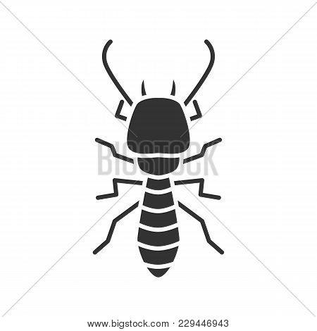 Termite Glyph Icon. White Ant. Silhouette Symbol. Negative Space. Vector Isolated Illustration