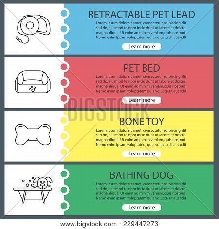 Pets Supplies Web Banner Templates Set. Website Color Menu Items With Linear Icons. Pet Lead, Animal