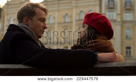 Couple Sitting On Bench, Looking Seriously, Beginning Of Argument, Relationship, Stock Footage