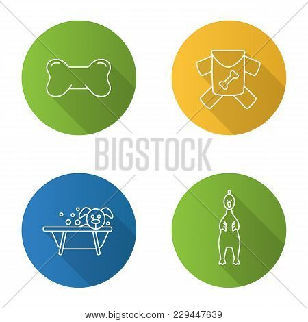 Pets Supplies Flat Linear Long Shadow Icons Set