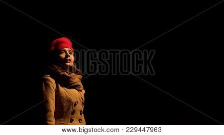 Lady Standing Alone At Night, Eyes With Tears, Just Broke Up With Boyfriend, Stock Footage