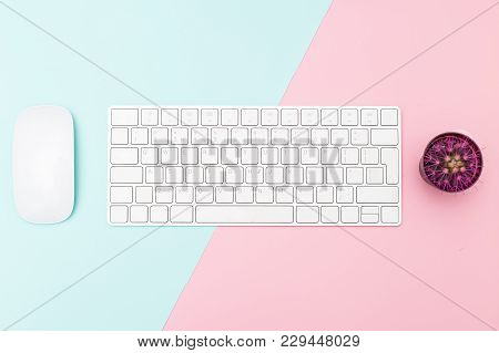 Mouse And Keyboard On Pastel Background. Minimalist Design