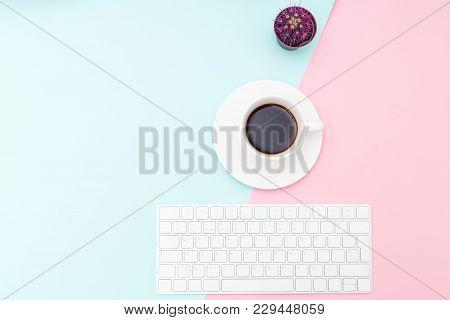Desktop With Violet Cactus On Pastel Background. Minimalist Design