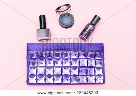 Beauty Ultra Violet On Pink Background. Flat Lay