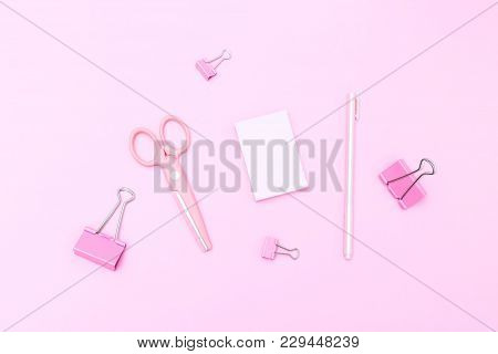 Pink Stationery On Pasrel Background. Flat Lay