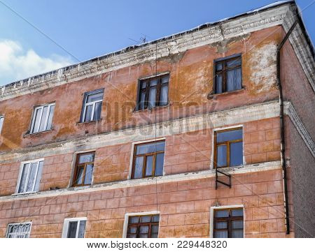 Old Apartment Building. Building Fragment. Old Architecture. Old Town