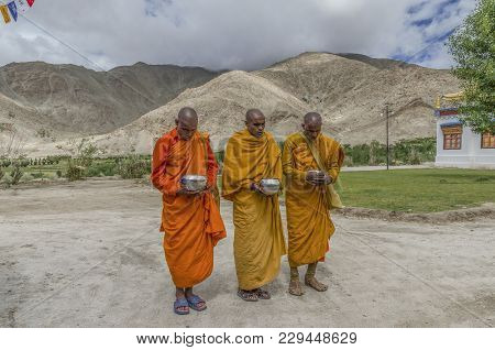 Sakti, India - August 03, 2017: Buddhist Monks Of The Gelug Or