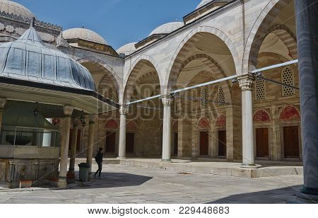 Istanbul, Turkey - April, 07, 2016, Courtyard With Gazebo Of Sehzade Mosque, The Temple Of Mourning
