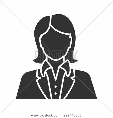 Office Worker Glyph Icon. Businesswoman, Admin, Manager, Secretary, Receptionist. Silhouette Symbol.