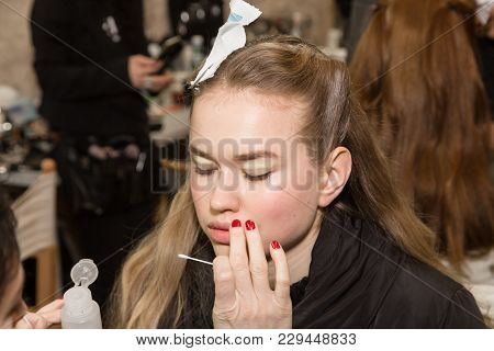 Gorgeous Model At The Make Up In The Backstage