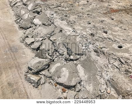 Outdoor Crack Concrete Texture Background In Thailand