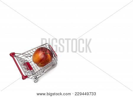 Buying A Nectarines From Supermarket, Nectarine In Shopping Cart, Shoping Cart Isolated On White Bac