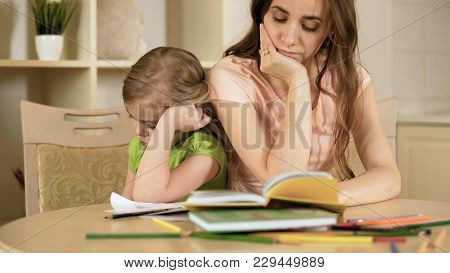 Sad Mother And Daughter Having Conflict, Bored Girl Refusing To Do Homework, Stock Footage