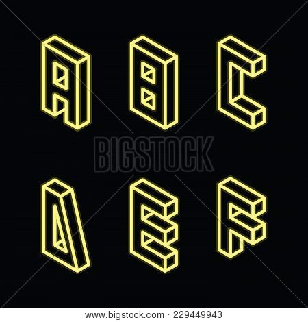 Neon Yellow Letters A B C D E F On Black Color. Bright English Alphabet Part, Good For Lettering And
