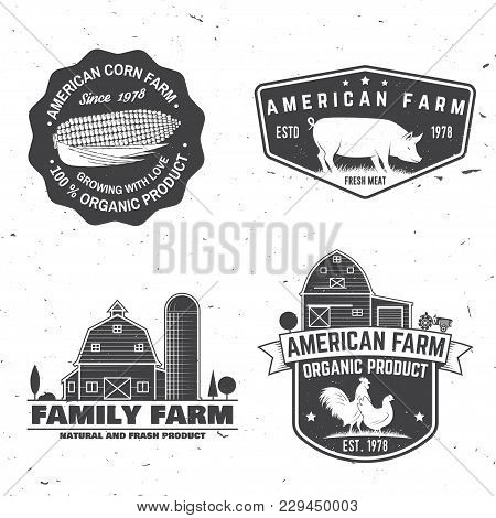 American Farm Badge Or Label. Vector Illustration. Vintage Typography Design With Chicken, Pig And F