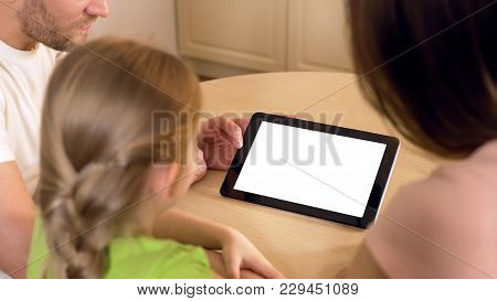 Happy Family Using Application On Tablet Pc With Pre-keyed Green Touchscreen, Stock Footage