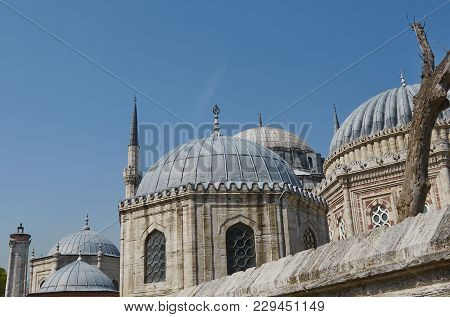 Istanbul, Turkey - April, 07, 2016, Domes Of Sehzade Mosque, The Temple Of Mourning Is A Monument To