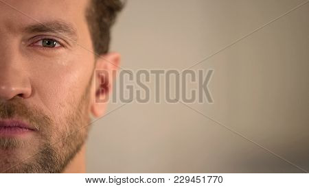Young Male Half Face Looking Into Camera, Average Man Opinion Poll, Statistics, Stock Footage