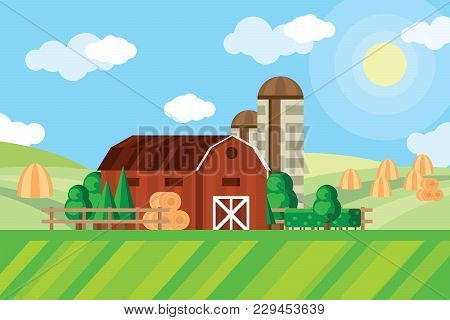 Farm Barn And Grain Storage On Agricultural Field With Haystacks Rural Landscape Vector Illustration