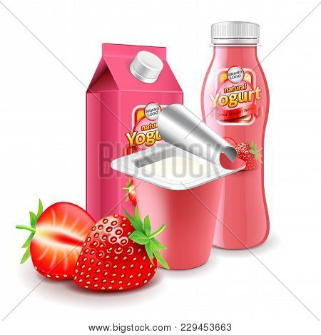Strawberry Yogurt Packagings Box Bottle And Cup 3d Photo Realistic Vector