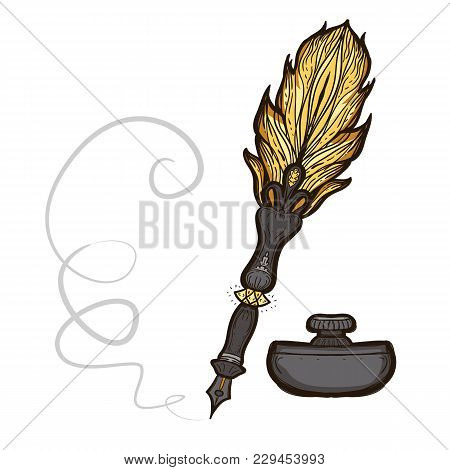 Feather Fountain Pen. Colored Sketch Ancient Pen And Inkwell Isolated On White Background. Hand Draw