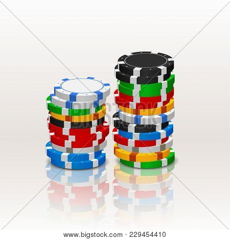 Illustration Of Poker Chips Stack With Reflection On White Background