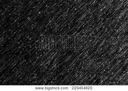 Lllustration Heavy Rain On Black Background For Effect Layer