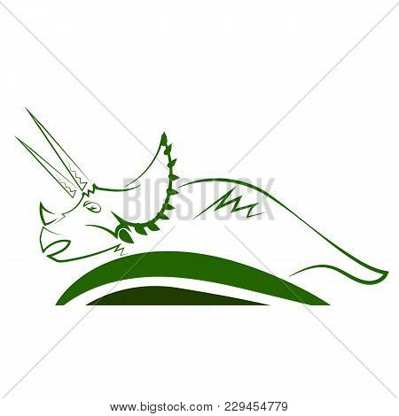 Triceratops Dinosaur Green Icon Isolated On White Background