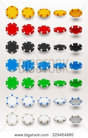 Poker Chips Big Set With Shadows In Different Angles On White Background