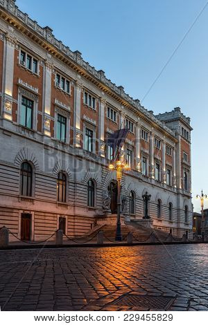 Rome, Italy - June 23, 2017: Amazing Sunset View Of Building Of Banco Di Napoli In City Of Rome, Ita