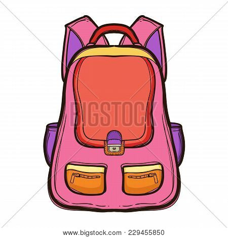 Backpack With School Supplies. School Bag Standing Isolated On White Background. Hand Drawn Illustra