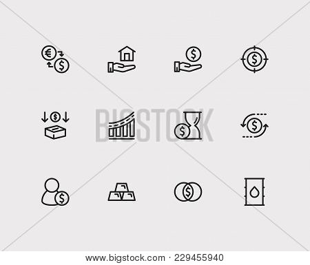 Investment Icons Set. Petroleum And Investment Icons With Investment Target, Gold And Time Money. Se