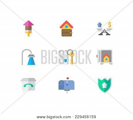 Building Icons Set. Mail Box And Building Icons With Property Paper, Renovation And Real Estate Feed