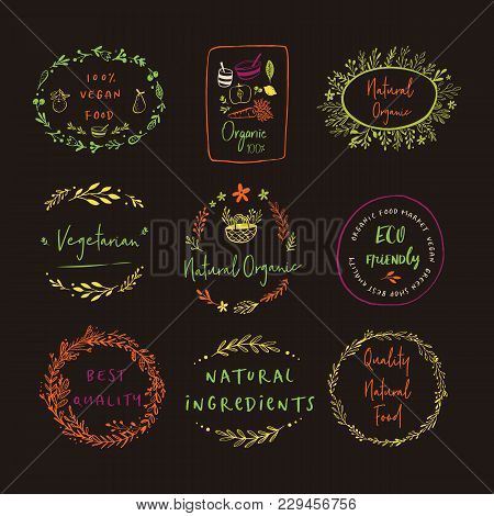 Bio, Ecology, Organic Logos And Icons, Labels, Tags. Hand Drawn Bio Healthy Food Badges, Set Of Raw,