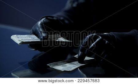 Criminal In Black Gloves Counting Bundle Of Money Earned For Committing Crime, Stock Footage