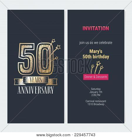 50 Years Anniversary Invitation To Celebration Event Vector Illustration. Design With Gold Number An