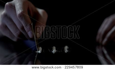 Cocaine Powder Lines On Glass Table, Man Makes Drug Stripes With Credit Card, Stock Footage