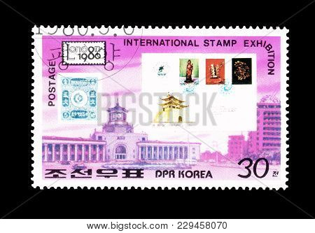 North Korea - Circa 1986 : Cancelled Postage Stamp Printed By North Korea, That Promotes Internation
