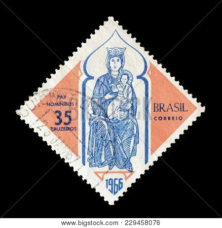 Brasil - Circa 1966 : Cancelled Postage Stamp Printed By Brasil, That Shows Mary And Jesus.