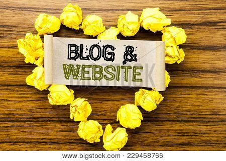 Word, Writing Blog  Website. Business Concept For Social Blogging Web Written On Sticky Note Paper O
