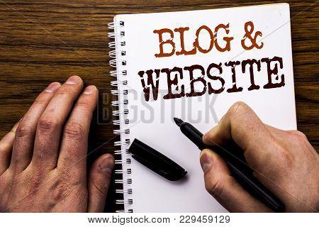 Handwritten Text Showing Word Blog  Website. Business Concept For Social Blogging Web Written Tablet