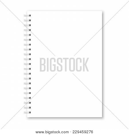 Vector Realistic Closed Notebook Cover. Vertical White Metallic Silver Spiral Bound Blank Copybook.