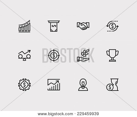 Economy Icons Set. Investment Target And Economy Icons With Investing Diversification, Competition A