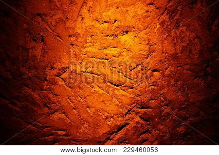 Natural texture created on the wall in the underground cave in Mazi underground city, Sehri, Turkey,