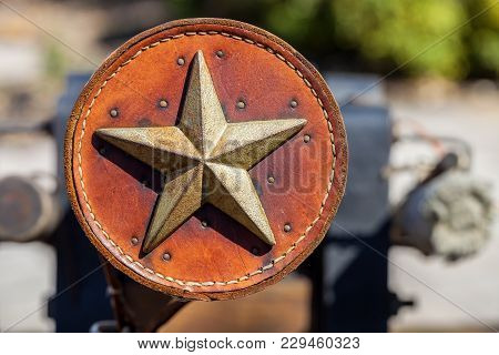 Antique Leather Ornament Decorated With Metal Texas Star