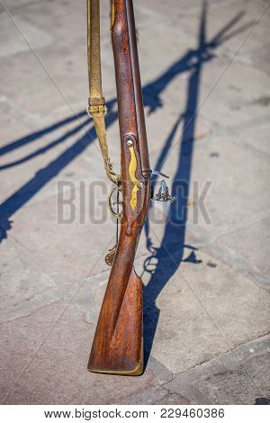 Antique Brown Bess Muskets Used For The Reenactment Of The Battle Of The Alamo