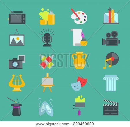 Artistic Graphic Creator Designer Icons Vector Set Flat Design Illustration. Camera, Picture, Brush
