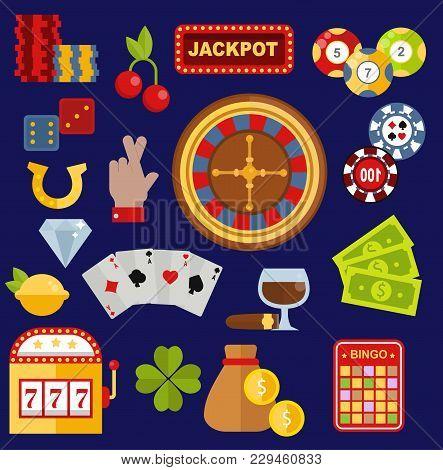 Casino Gambler Game Vector Icons Poker Symbols And Casino Blackjack Cards Gambler Money Winning Icon